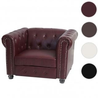 Luxus Sessel Loungesessel Relaxsessel Chesterfield Kunstleder ~ runde Füße, rot-braun
