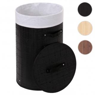 Wäschekorb HWC-C21, Laundry Wäschebox Wäschesammler Wäschebehälter Wäschetonne, Bambus rund 59x35cm 50l ~ schwarz