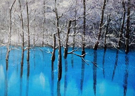 Ölgemälde Blauer See, 100% handgemalt, 140x70cm - Vorschau 3