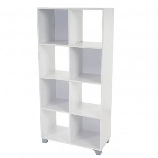 Regal T364, Standregal Bücherregal Medienregal Holzregal, weiß 8 Fächer