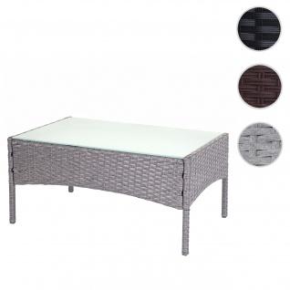 Poly-Rattan Gartentisch Halden, Beistelltisch Tisch mit Glasplatte ~ grau