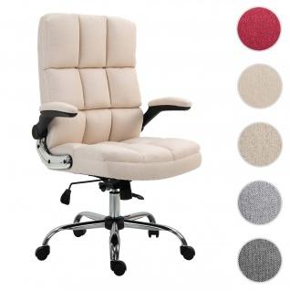 Bürostuhl HWC-J21, Chefsessel Drehstuhl Schreibtischstuhl, höhenverstellbar ~ Stoff/Textil creme-beige - Vorschau 1
