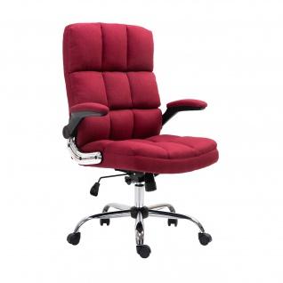 Bürostuhl HWC-J21, Chefsessel Drehstuhl Schreibtischstuhl, höhenverstellbar ~ Stoff/Textil weinrot - Vorschau 2
