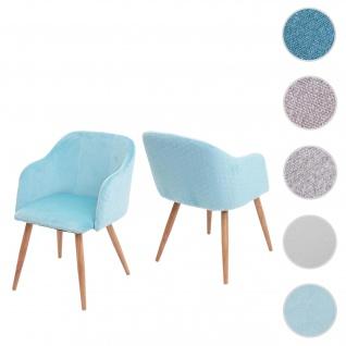 2x Esszimmerstuhl HWC-D71, Stuhl Küchenstuhl, Retro Design, Armlehnen Stoff/Textil ~ Samt türkis
