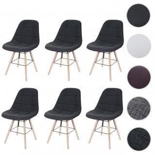 6x Esszimmerstuhl HWC-A60 II, Stuhl Küchenstuhl, Retro 50er Jahre Design ~ Stoff/Textil dunkelgrau