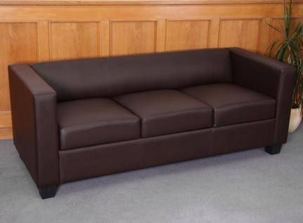3er Sofa Couch Loungesofa Lille, Kunstleder ~ coffee
