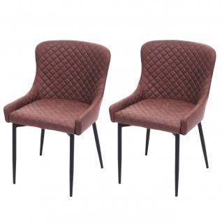 2x Esszimmerstuhl HWC-H79, Küchenstuhl Lehnstuhl Stuhl, Vintage Metall ~ Stoff/Textil braun - Vorschau 2