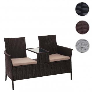 Poly-Rattan Sitzbank mit Tisch HWC-E24, Gartenbank Sitzgruppe Gartensofa, 132cm ~ braun, Kissen creme
