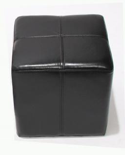 Sitzwürfel Hocker Sitzhocker Onex, Leder + Kunstleder, 36x36x36cm ~ schwarz - Vorschau 3