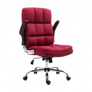 Bürostuhl HWC-J21, Chefsessel Drehstuhl Schreibtischstuhl, höhenverstellbar ~ Stoff/Textil weinrot - Vorschau 5