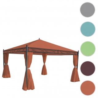 Pergola Cadiz, Garten Pavillon, stabiles 7cm-Gestell mit Seitenwand ~ terrakotta-braun 4x4m