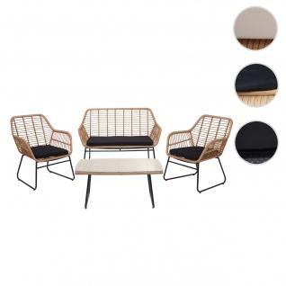 Polyrattan Garnitur HWC-G17a, Gartengarnitur Sofa Set Sitzgruppe ~ naturfarben, Polster anthrazit mit Dekokissen