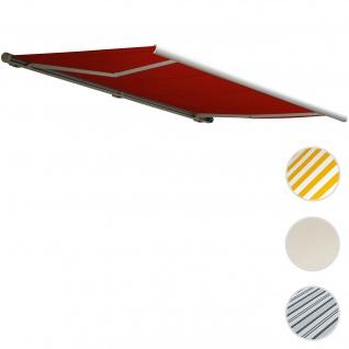 Elektrische Kassettenmarkise T122, Markise Vollkassette 4x3m ~ Polyester bordeaux-rot