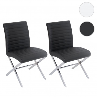 2x Esszimmerstuhl Fano, Stuhl Küchenstuhl, Kunstleder chrom schwarz