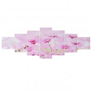 Leinwandbild T375, Kunstdruck, 7-teilig 140x50cm ~ Blumen