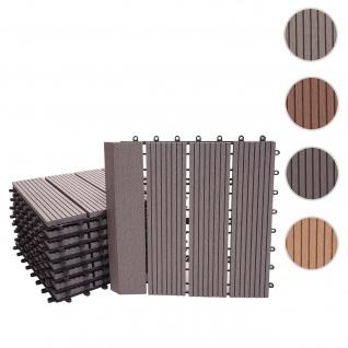 WPC Bodenfliese Rhone + Abschluss, Holzoptik Balkon/Terrasse, 11x je 30x30cm = 1qm Premium ~ grau linear senkrecht