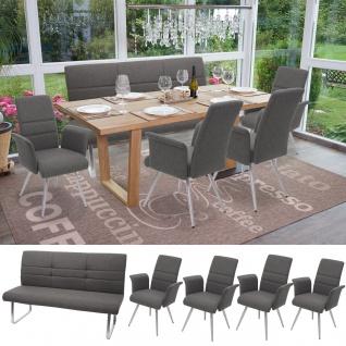 Set 4x Esszimmerstuhl+Sitzbank HWC-G55, Bank Küchenstuhl Stuhl+Armlehne, Stoff/Textil Edelstahl ~ grau-braun Bank 160cm