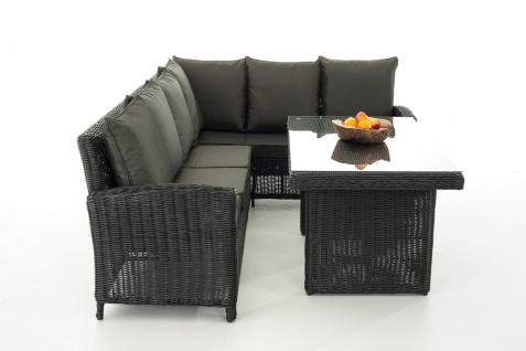 Sofa-Garnitur CP056, Lounge-Set Gartengarnitur, Poly-Rattan ~ Kissen anthrazit, schwarz