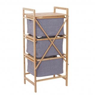 Wäschesammler HWC-B56, Regal Wäschesortierer Wäschekorb Badregal Aufbewahrung, Bambus 96x44x34cm 78l - Vorschau 4