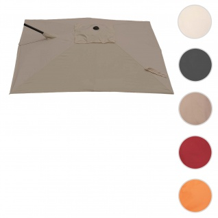 Bezug für Ampelschirm HWC-A39, Sonnenschirmbezug Ersatzbezug, 3x3m (Ø4, 24m) Polyester 2, 8kg ~ taupe-braun