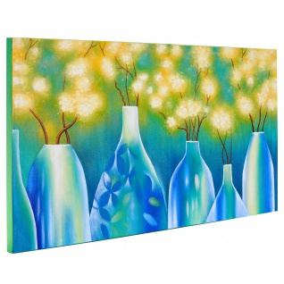Ölgemälde Vasen, 100% handgemaltes Wandbild Gemälde XL, 135x70cm - Vorschau 3