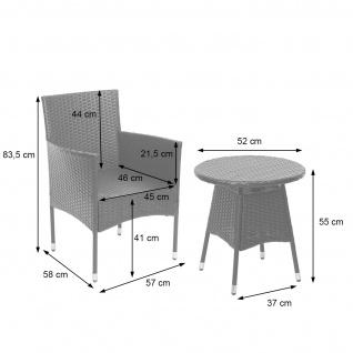 Poly-Rattan Balkonset HWC-G27, Sitzgarnitur Gartengarnitur Sitzgruppe, 2xSessel+Tisch grau, Kissen creme - Vorschau 3