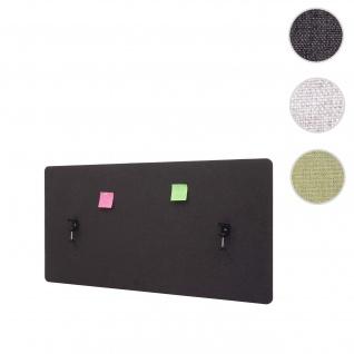 Akustik-Tischtrennwand HWC-G75, Büro-Sichtschutz Schreibtisch Pinnwand, doppelwandig Stoff/Textil ~ 120x60cm braun-grau