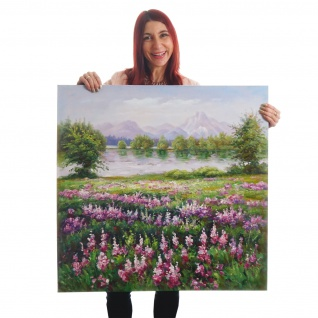 Ölgemälde Blumenwiese, 100% handgemaltes Wandbild XL, 80x80cm - Vorschau 2