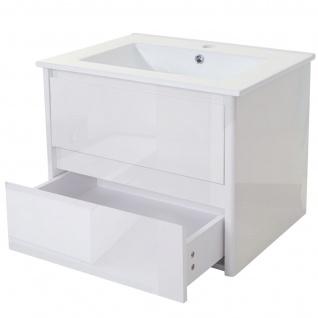 Waschbecken + Unterschrank HWC-B19, Waschbecken Waschtisch Badezimmer, hochglanz 50x60cm - Vorschau 2