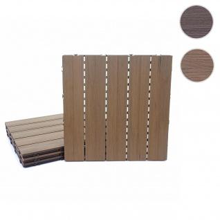 WPC Bodenfliese HWC-E20, Holzoptik Balkon/Terrasse, 3D-Struktur linear 4x je 50x50cm = 1qm, geprägt-braun