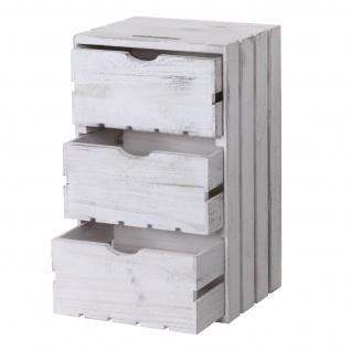 Kommode HWC-C62, Schubladenkommode Holzkiste, Shabby-Look Vintage 3 Schubladen 53x32x26cm ~ weiß - Vorschau 4