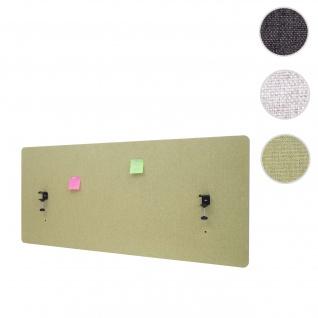 Akustik-Tischtrennwand HWC-G75, Büro-Sichtschutz Schreibtisch Pinnwand, doppelwandig Stoff/Textil ~ 140x60cm grün