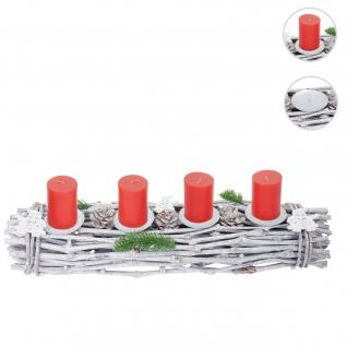 Adventskranz länglich, Weihnachtsdeko Adventsgesteck, Holz 60x16x9cm weiß-grau ~ mit Kerzen, rot