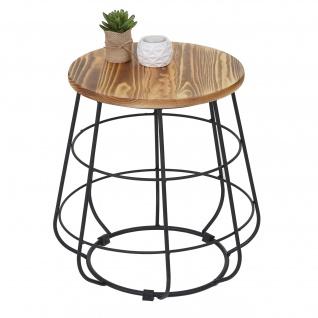 Beistelltisch HWC-A80, Nachttisch Kaffeetisch, Industriedesign Echtholz Ø35cm