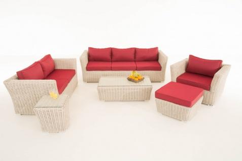 Gartengarnitur Sousse perlweiß, Polsterung rubinrot