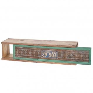 Wandregal HWC-A43, Hängeregal Regal, Tanne Holz massiv Vintage Patchwork 65x16x13cm