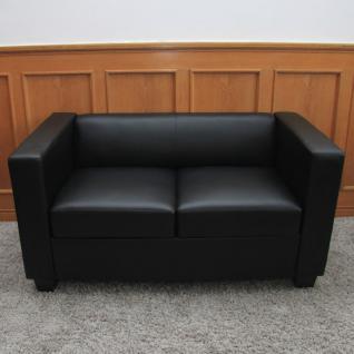 2er Sofa Couch Loungesofa Lille, Leder ~ schwarz