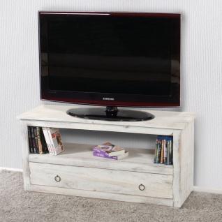 TV-Rack Fernsehtisch, Shabby-Look, Vintage weiß