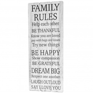 Holzschild Family Rules, Dekoschild Garderobe, Shabby-Look