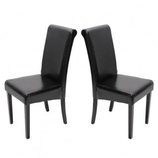 2xEsszimmerstuhl Stuhl Küchenstuhl Novara II, LEDER ~ schwarz, dunkle Beine