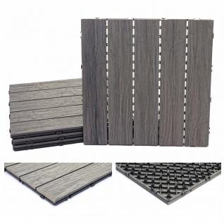WPC Bodenfliese HWC-E19, Holzoptik Balkon/Terrasse, 3D-Struktur linear antik-braun 4x je 50x50cm = 1qm
