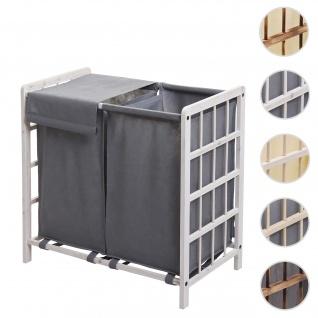 Wäschesammler HWC-B60, Laundry Wäschebox Wäschekorb, Massiv-Holz 2 Fächer 60x60x33cm 68l ~ shabby weiß, Bezug grau