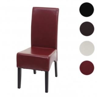 Esszimmerstuhl Latina, Küchenstuhl Stuhl, Leder ~ rot, dunkle Beine