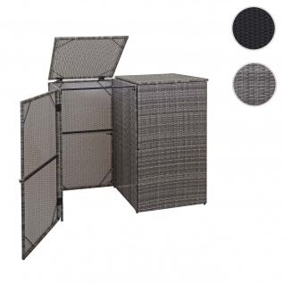 2er-Mülltonnenverkleidung HWC-E25, Mülltonnenbox Mülltonnenabdeckung, Poly-Rattan 2x120l grau