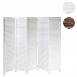 Paravent HWC-C30, Raumteiler Trennwand Sichtschutz, Shabby-Look Vintage, 170x205cm ~ weiß