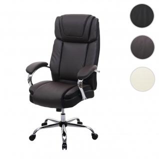 XXL Bürostuhl HWC-H94, Drehstuhl Schreibtischstuhl Chefsessel, 220kg belastbar Federkern Kunstleder ~ braun