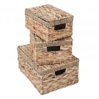 3er Set Aufbewahrungsbox HWC-C23, Truhe Kiste Box mit Deckel, Wasserhyazinthe naturfarben