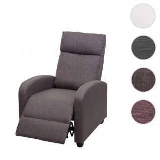 Fernsehsessel HWC-F76, Relaxsessel Sessel Liegesessel, Liegefunktion verstellbar Stoff/Textil ~ grau-braun
