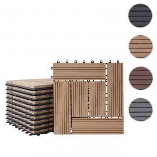 WPC Bodenfliese Rhone, Holzoptik Balkon/Terrasse, 11x je 30x30cm = 1qm ~ Premium, teak versetzt