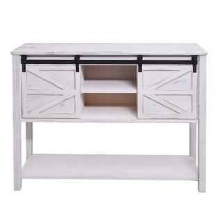 Kommode HWC-D57, Schiebetürenschrank Sideboard Schrank, Shabby-Look Vintage 81x102x34cm ~ weiß - Vorschau 3
